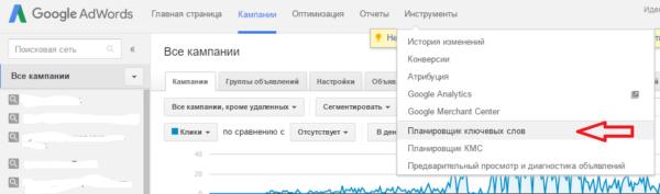 Инструменты: Планировщик ключевых слов Google Adwords