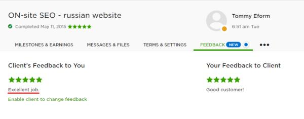 Отзыв с сайта Upwork - внутренняя оптимизация сайта