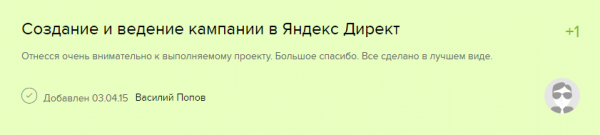 Отзыв от клиента в freelance.ru о создании кампании в Яндекс.Директ